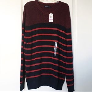 Nautica Red and Navy Crewneck Sweater 100% Cotton